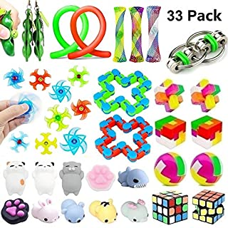 33 Pack Sensory Toys Set, Stress Relief Fidget Toys Pack for Adults Kids, Party Toys, Birthday Party Favors, Pinata Fillers, Classroom Rewards, Treasure Box Prizes, Carnival Game, Goodie Bag Fillers