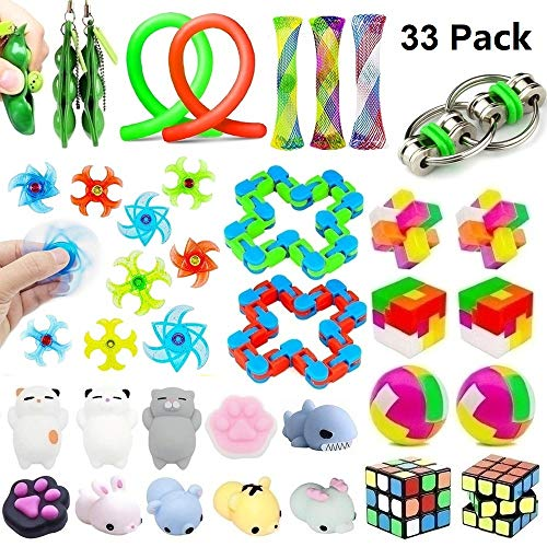 33 Pack Sensory Toys Set, Stress Relief Fidget Toys Pack for Adults Kids, Party Toys, Birthday Party Favors, Pinata Fillers, Classroom Rewards, Treasure Box Prizes, Carnival Game, Goodie Bag Fillers ()
