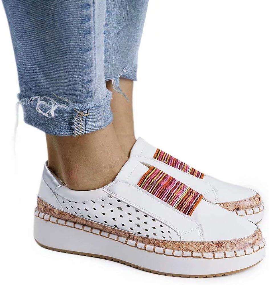 Mokassins/Damen Casual//Schuhe/Keil Loafer/Frauen Bootsschuhe Platform Flache 3.5CM Keilabsatz Halbschuhe/Leichte Bequeme/Blau Gr/ün Rot Wei/ß EU 35-43