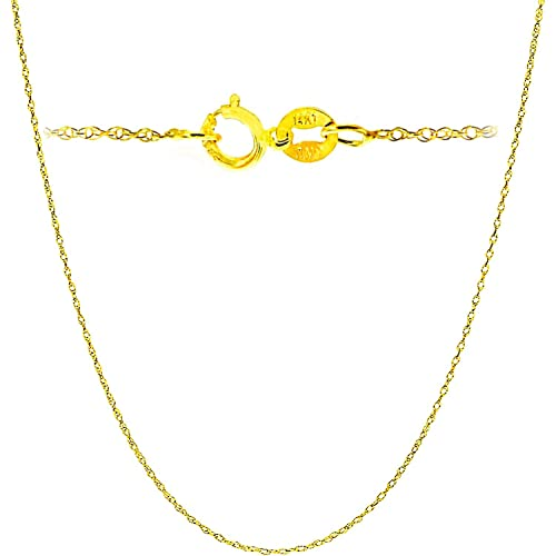3062936ad94c9 14K Yellow or white Solid Gold Italian Diamond Cut Rope Chain Necklace Very  Thin Lightweight Strong with an extension