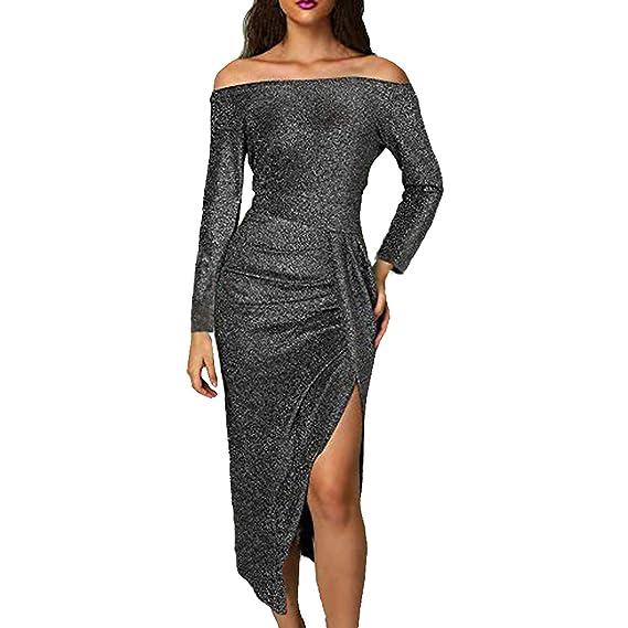 194ed323ba78e Ancapelion Women's Off Shoulder Long Sleeve Cocktail Dress Metallic Glitter  Party Midi Dress for Women (