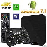 TV Box Android 7.1 – VIDEN W1 Smart TV Box Amlogic S905X Quad-Core, 1 GB RAM e 8 GB ROM, 4 K UHD H.265, USB, HDMI, lettore multimediale Wi-Fi, mini tastiera senza fili [versione migliorata]