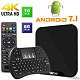 Android TV Box - VIDEN W1 Newest Android 7.1 Smart TV Boxsets, Amlogic Quad-Core, 1GB RAM & 8GB ROM, 4K Ultra HD, WIFI Media Player + Mini Wireless Keyboard [Upgrade version]