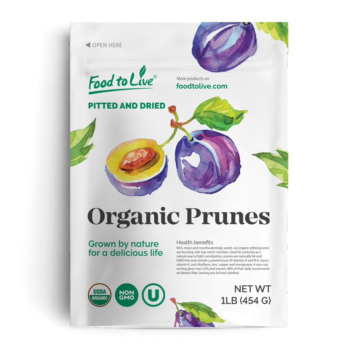 Organic Pitted Prunes, 1 Pound - Dried California Plums, Non-GMO, Kosher, Unsulfured, Unsweetened, Bulk by Food to Live