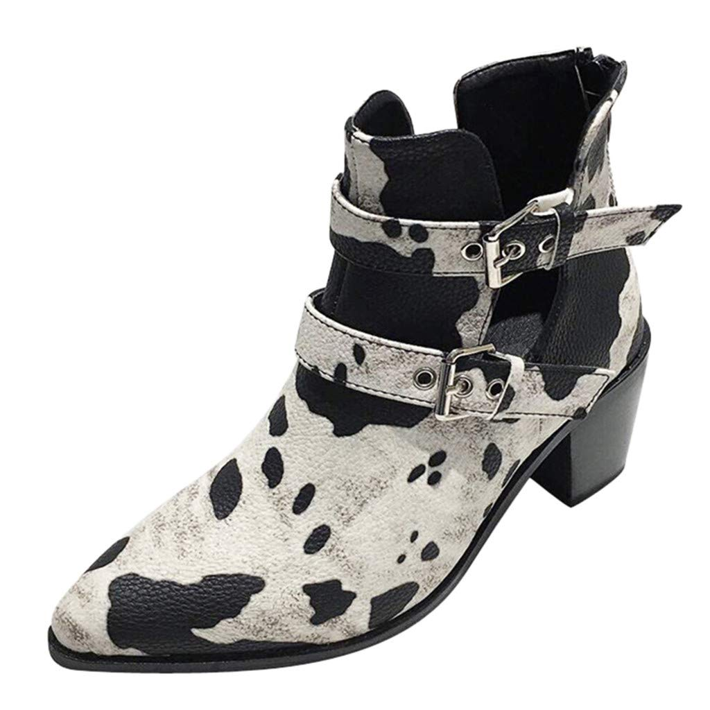 Leaf2you Womens Western Cut Out Perforated Low Heel Ankle Boots Pointed Toe Double Buckle Short Bootie by Leaf2you