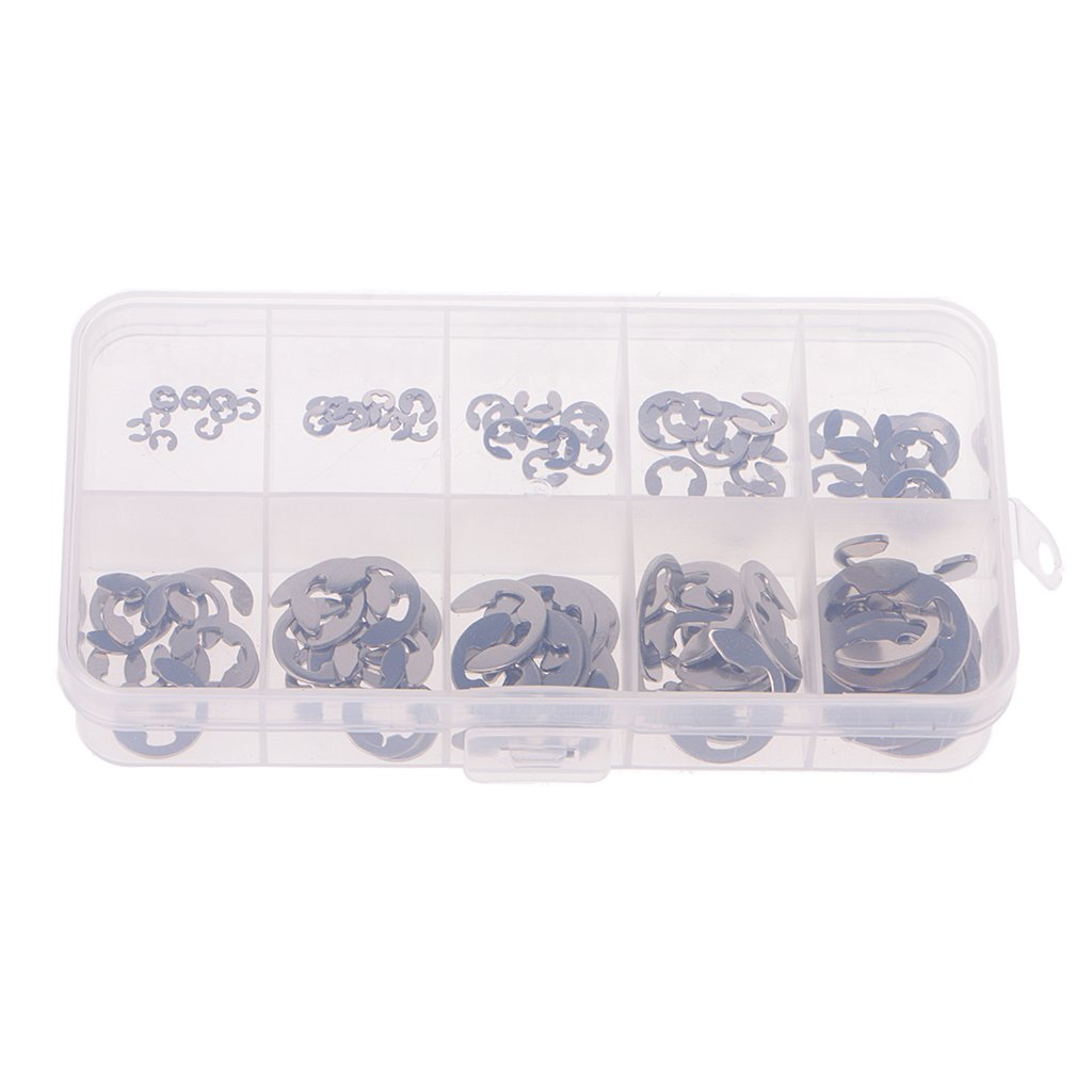 Goodqueen 120PCS 1.5mm-10mm E-Clip Assortment Kit Stainless Steel Retaining Circlip Set for