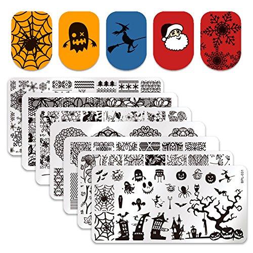 BornPretty 7Pcs Nail Art Stamp Stamping Plates Christmas Santa Claus Halloween Spider BPL026-L032 (Nail Art Stamping Halloween)