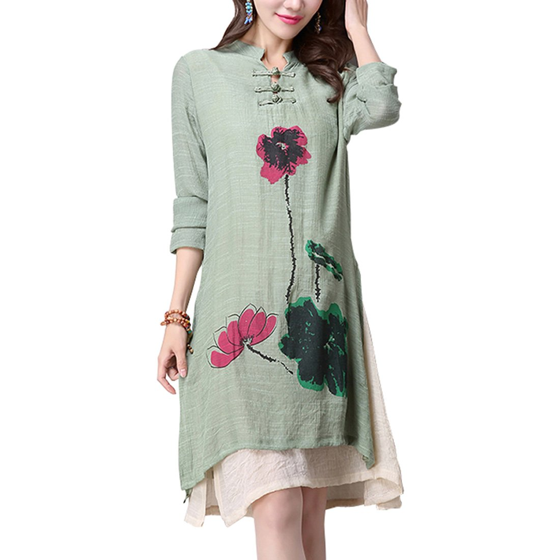 Women's Retro National Wind Casual Long-Sleeved Cotton Linen Dress Lotus Print (M, Green)