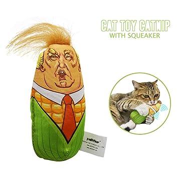 FineFun Trump Cat Catnip Juguetes | Juguete para Gatos de maíz | con una Campana integrada: Amazon.es: Productos para mascotas