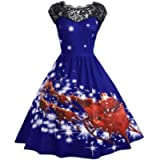 Houshelp Women's 1950s Vintage Swing Dress Lace Cocktail Prom Party Dress Short Sleeve Halloween Christmas Costumes