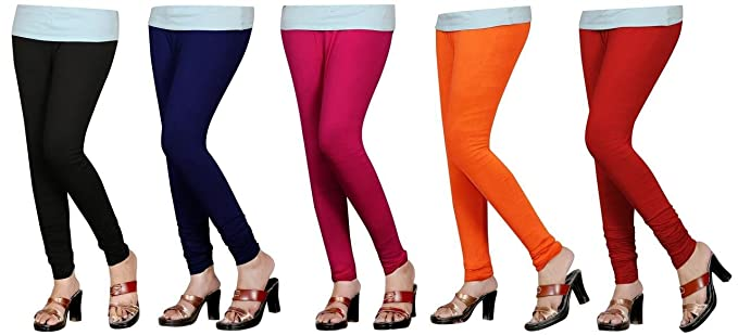 6e309c311 Naisargee Women's and Girl's Super Soft Cotton Multicolor Churidar Full  Length Leggings Combo Pack 5 -