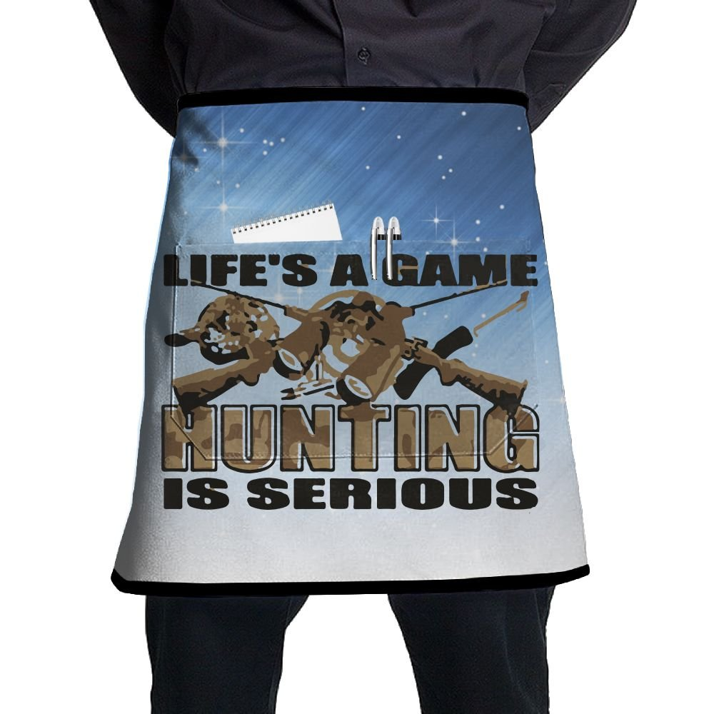 XiHuan Grill Aprons Kitchen Chef Bib Life Is A Game Hunting Serious Professional For BBQ Baking Cooking For Men Women Pockets