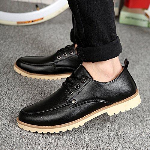 KAKA(TM) Men Fashion Design Spring Autumn PU Leather Lace Up Platform Shoes Black 40