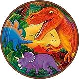 Amscan Prehistoric Party dinosaurio metálico Platos llanos, multicolor, 22,9cm