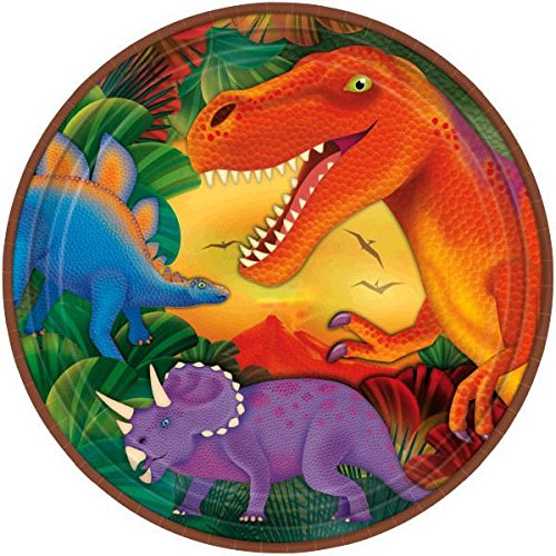 Amscan Prehistoric Party Dinosaur Metallic Dinner Plates, Multicolor, 9