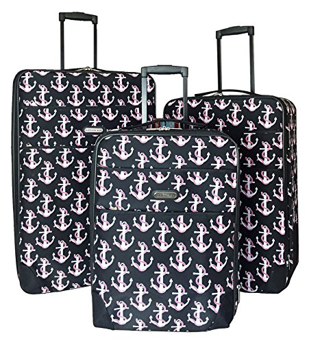 3pc Luggage Set Travel Bag Rolling Wheel Carryon Expandable Upright Anchors Pink by Trendy Flyer