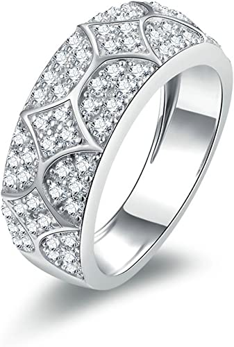 Gnzoe Jewelry Silver Wedding Ring Band Womens Round Cut Cubic Zirconia Ring For Her 6mm Size 7