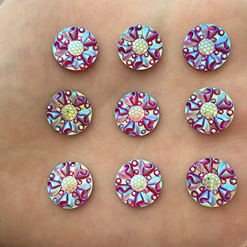 FunnyCraft Diy 30Pcs 12Mm Ab Round Resin 3D Flower Rhinestone Flatback Scrapbooking Phone Scrapbooking - 3d Toronto Glasses