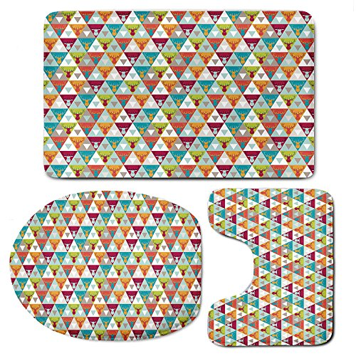 Rug Mats Set 3 Piece,IndieMemory Foam Extra Soft Shower Bath Rugs – Contour Mat and Lid Cover,Triangles Pattern with Deer Elk Portraits Geometric Colorful Funky Hipster Tile Urban Decorative (Portrait Elk)