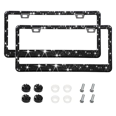 Otostar Bling Crystal Car License Plate Frame, Handmade Finest 14 Facets SS20 Diamond Stainless Steel License Plate Holder Cover - 2 Pack (Black 6 Rows 2 Holes): Automotive