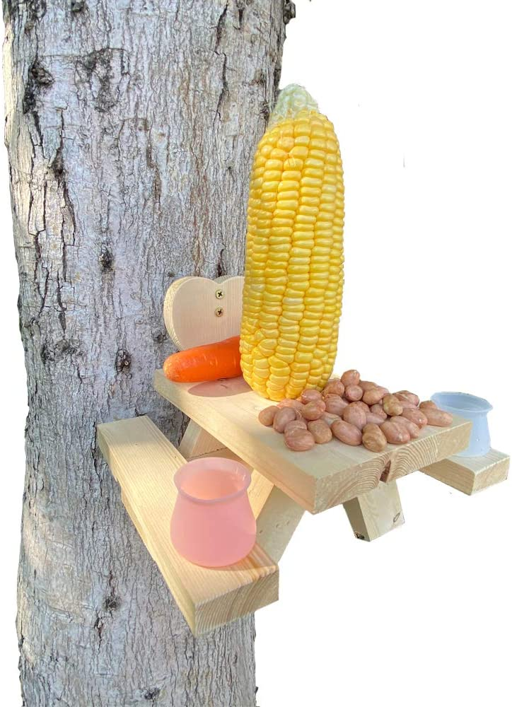 Deartisan Squirrels Feeder, Premium Groundhog Picnic Table Platform with Silicone Water Cup Corn Holder for Outside Decor Funny Gift Birds Chipmonk Feeder Table