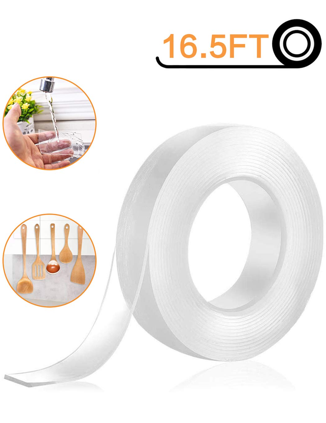 Nano Tape Double Sided Tape Heavy Duty - One Non-Slip Gel Grip Poster Tape Transparent Removable Washable Adhesive Sticky Rug Griper Mat Pads for Mounting Carpet - 16.5 by BOHONG