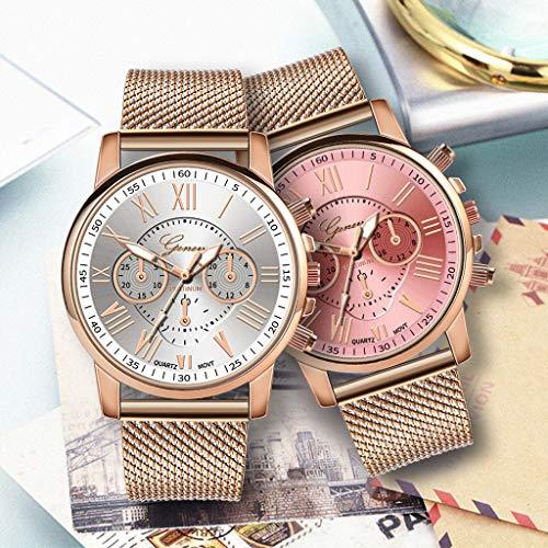 Pocciol Fashion Military Stainless Steel Quartz Watch Womens Casual Watch Luxury Analog Wristwatch (Pink) by Pocciol Cheap-Nice Watch (Image #5)