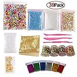 39 Pack Slime Making Kits Supplies,Gold Leaf,Foam Balls,Glitter Shake Jars,Fishbowl Beads,Fruit Slices,Fake Sprinkles,Glitter Sequins Accessories, Slime Tools Kits