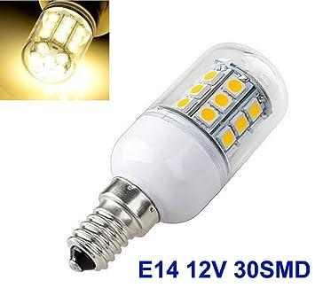 1 Bombilla LED E14 y 5 W, con 30 luces LED 5050 SMD, lámpara de luz blanca cálida, 12 V / 24 V: Amazon.es: Coche y moto
