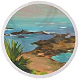Pixels Round Beach Towel With Tassels featuring ''Low Tide'' by Diane McClary