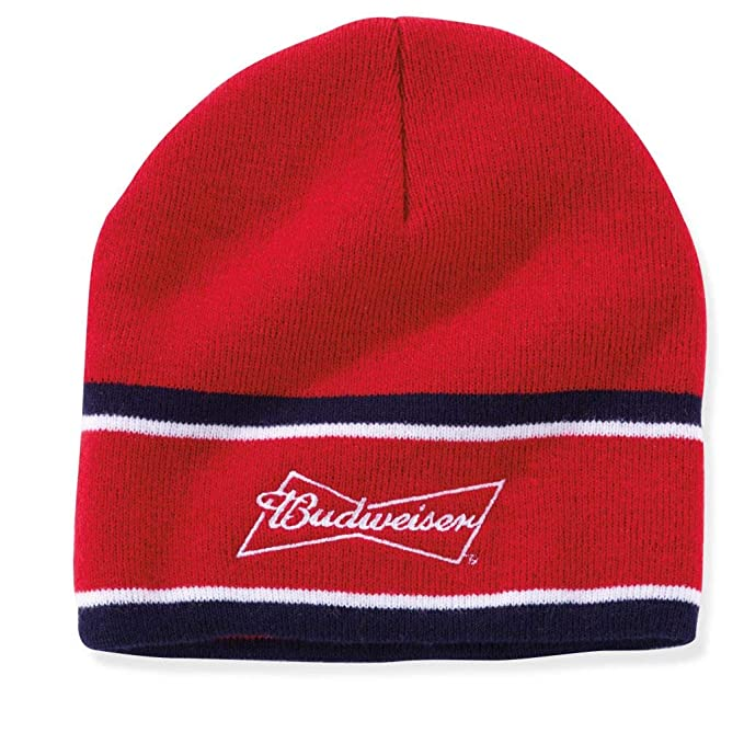 3c7c22ef70748 Amazon.com  Budweiser Adult Signature Stitched Beanie Hat - Red ...