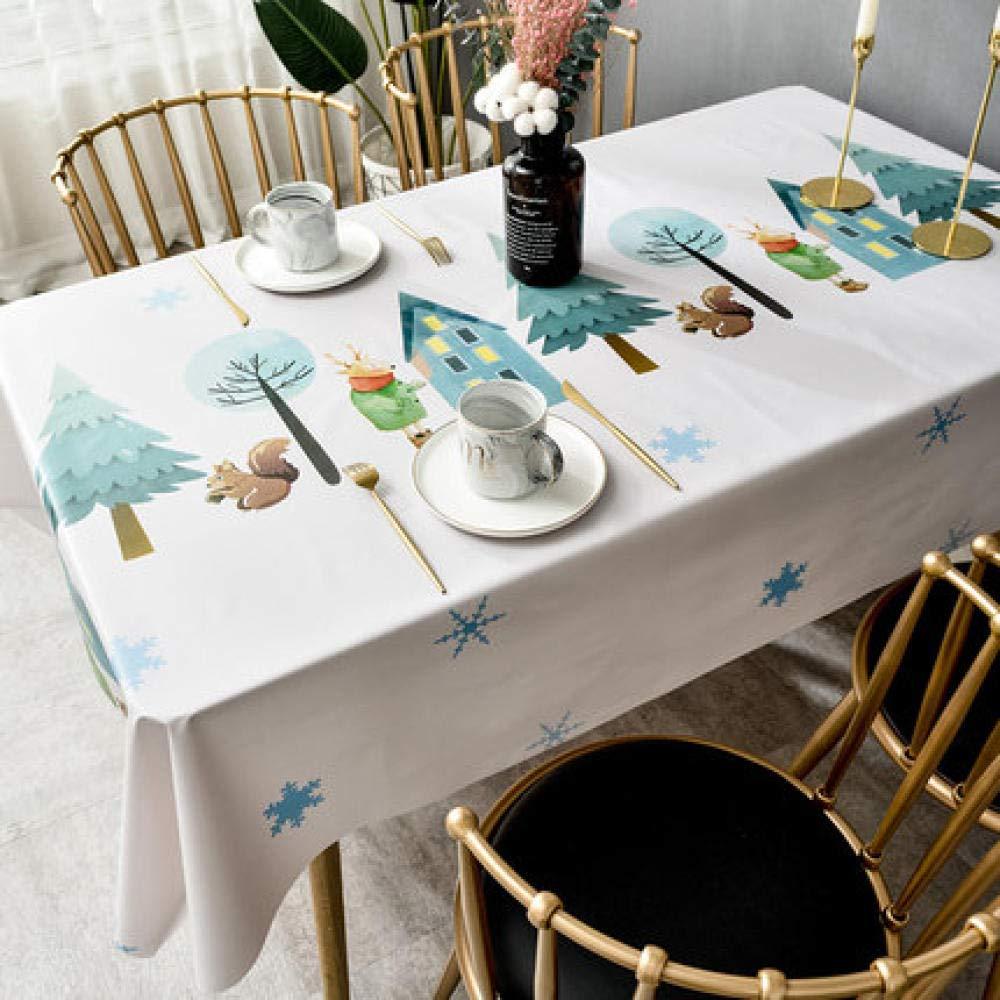 WJJYTX Wachstuch tischdecke, Tischdecke zum Abwischen Tischdecke aus PVC, ölbeständig/wasserfest, schmutzabweisend Weihnachtsbaumdruck weiß @ 140 * 220