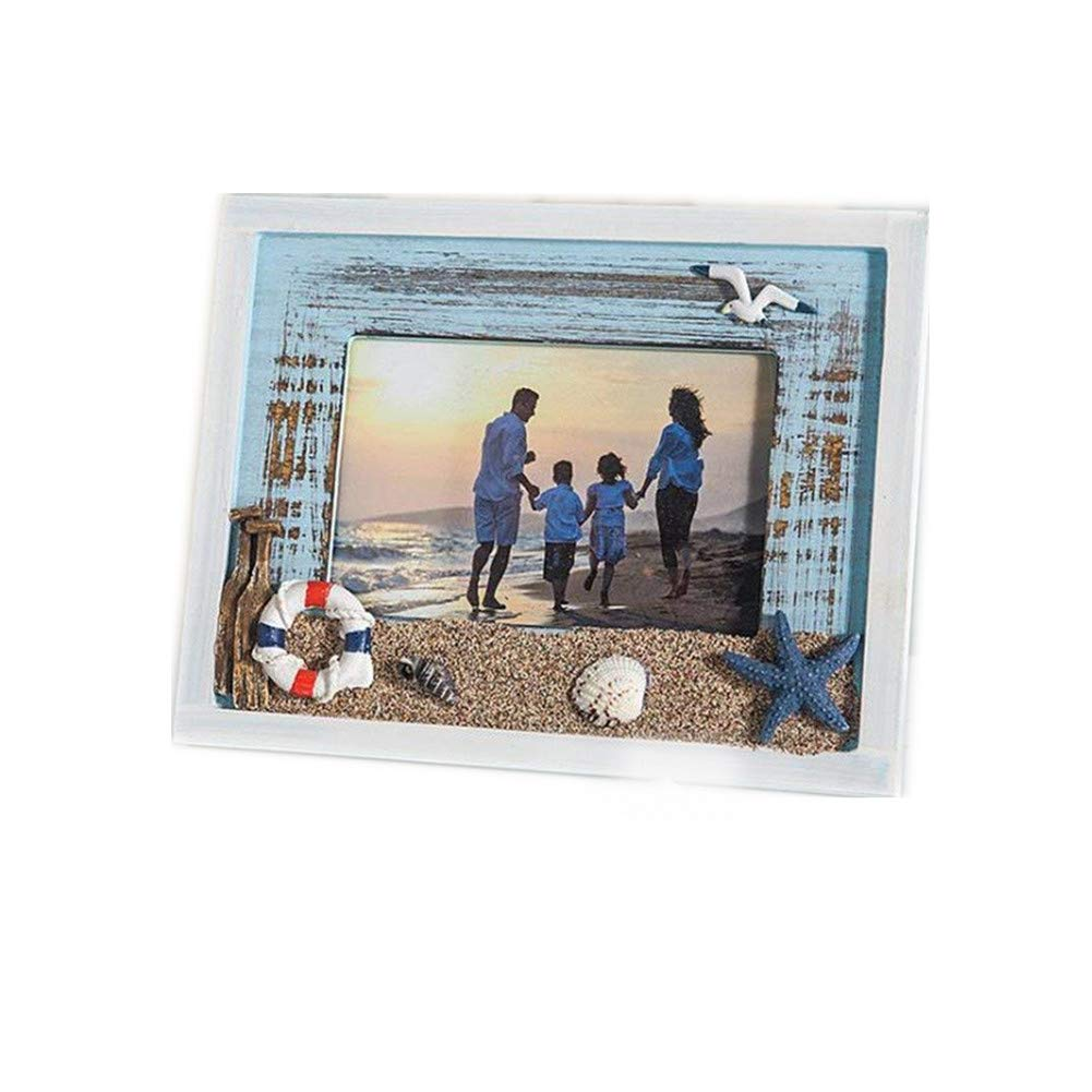 MUAMAX Mediterranean Style 4 x 6 Inch Beach Picture Frames Wooden Weathered Ocean Photo Frame with Sand Seagull Coastal Themed Home Nautical Decor Seaside Vacation Kids Gifts