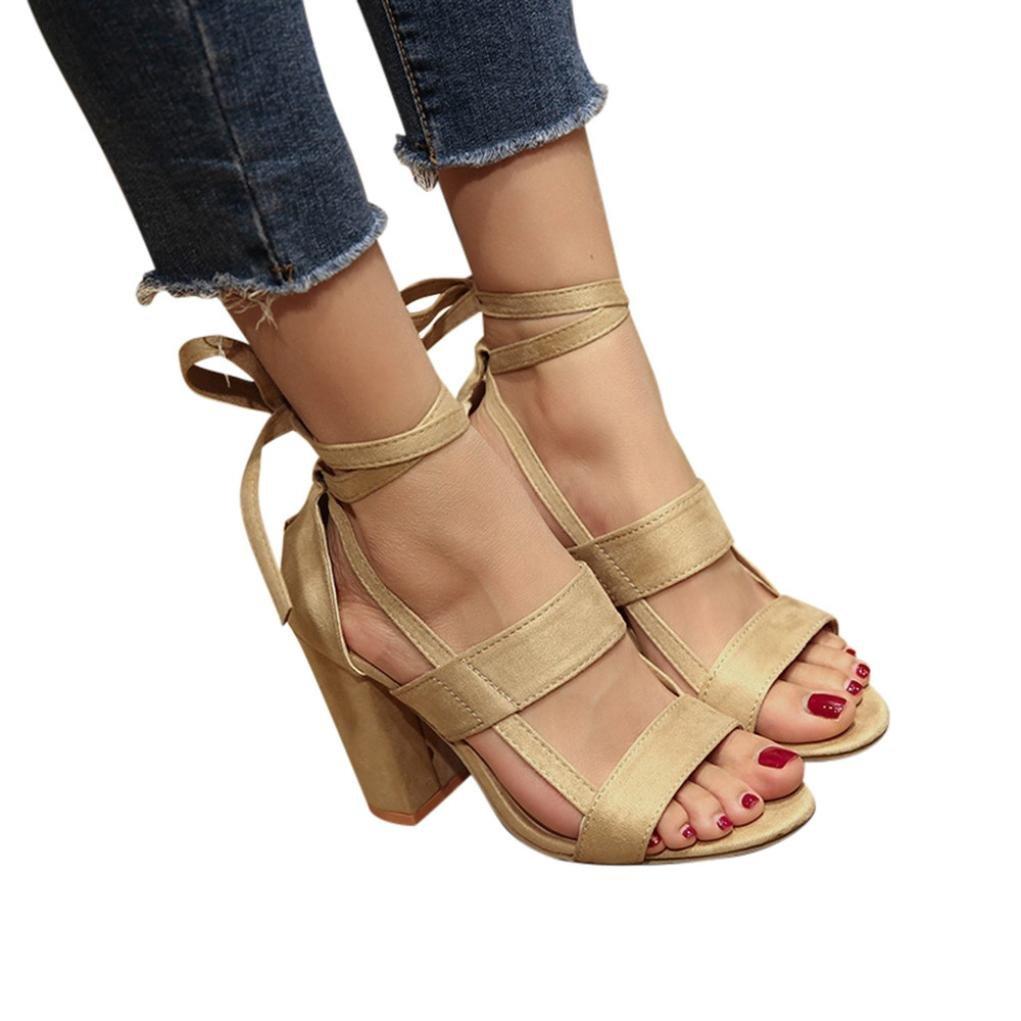 KaiCran Ladies Summer Sandals Women Sandals Ankle High Heels Block Party Open Toe Shoes B0793L4QJ8 6 B(M) US|Beige
