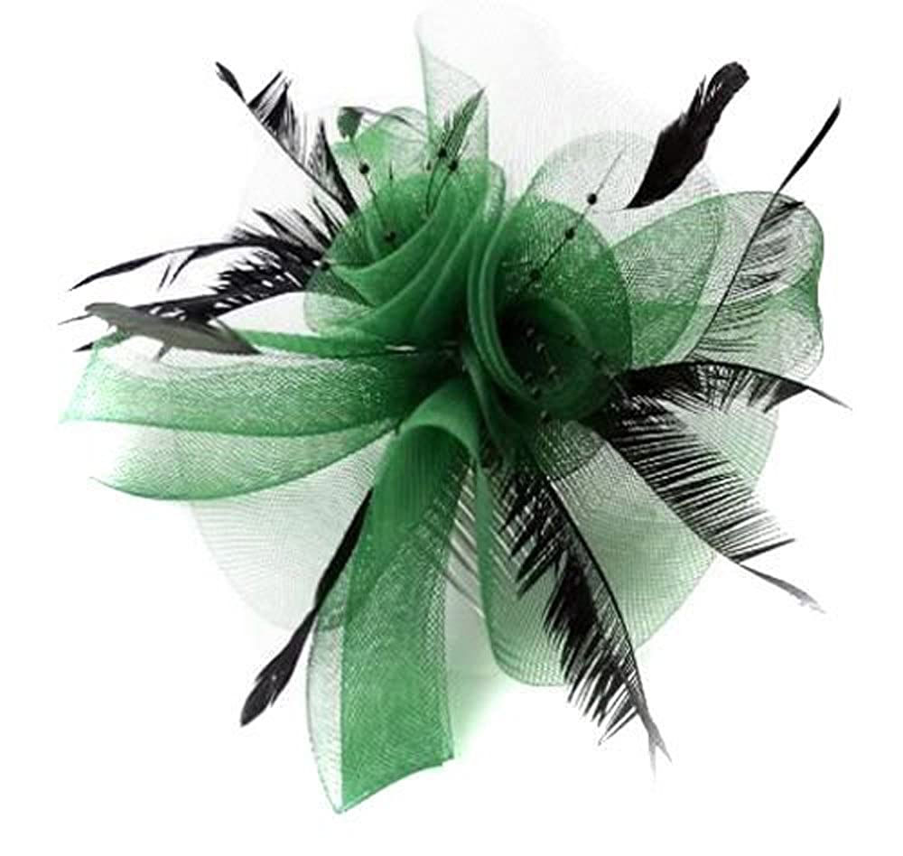 Green Butterfly Black Feather Wedding Ascot Fascinator on Comb Hat Hair Accessories green_ls_butterfly
