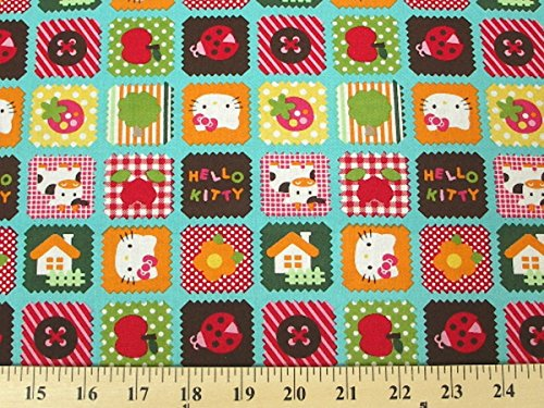 Hello Kitty Home Patches Aqua HK-9 100% Cotton Fabric Quilt Prints 44/45