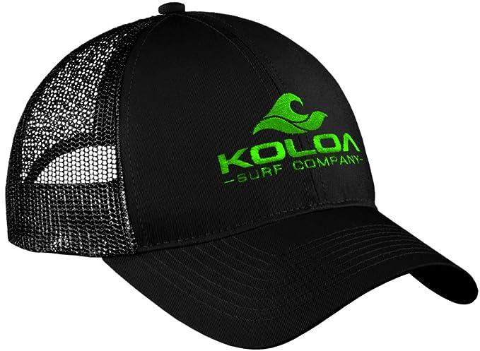 9dbc5ee0b77 Koloa Surf Wave Logo Old School Curved Bill Mesh Snapback Hat-Black Green