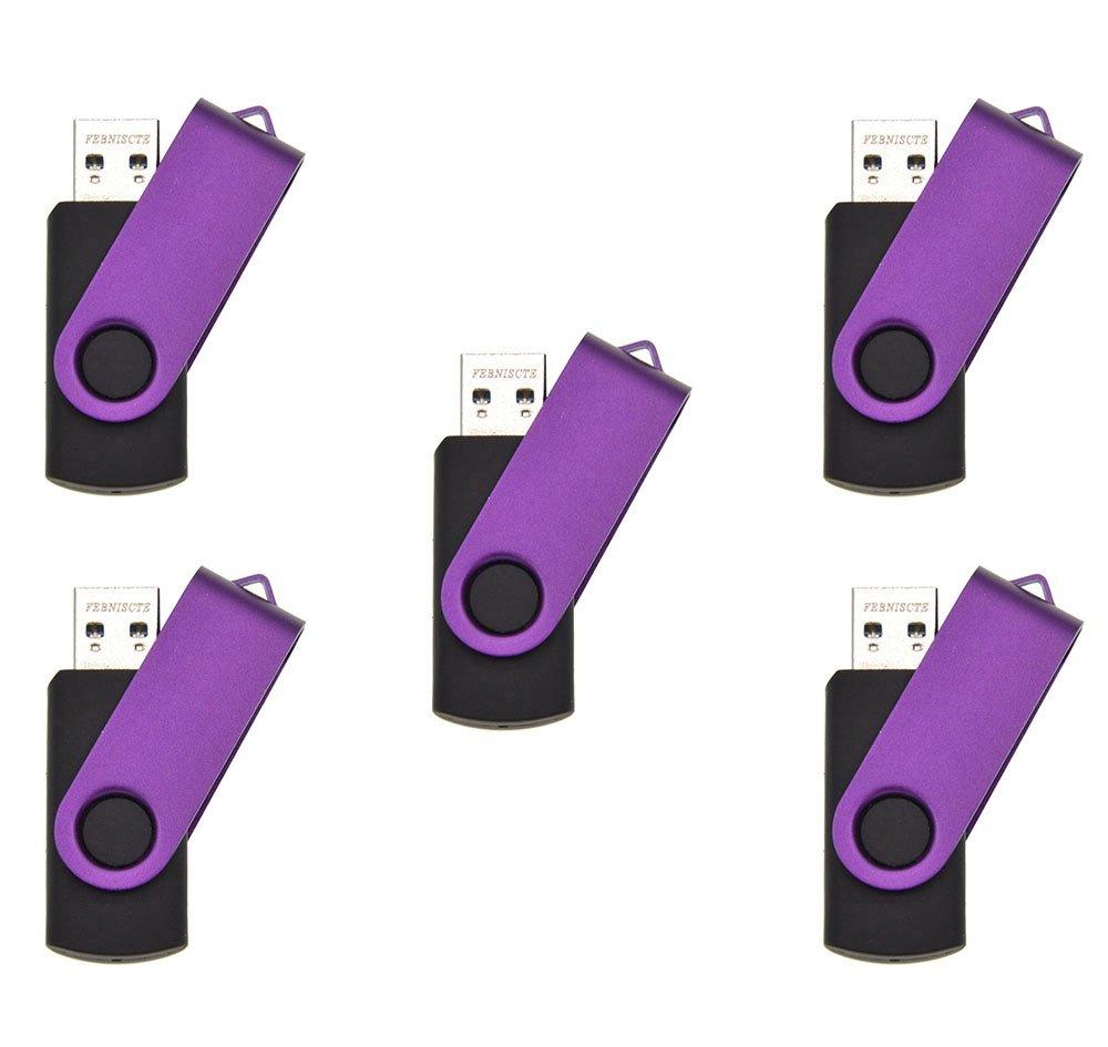 FEBNISCTE Purple Swivel 32GB USB 3.0 Memory Stick U Disk