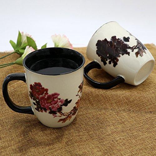 Asmwo Heat Changing Magic Porcelain Coffee Mug for Mom Gifts Funny Tea Mug 16 oz Black Change into Multi Color Peony Painting
