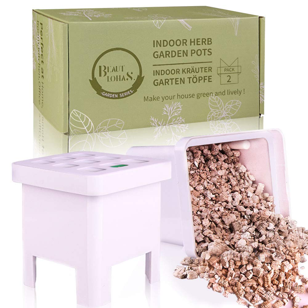 Indoor Plant Pots, 2 Self-Watering Planting Boxes Containing Vermiculite for Indoor Plants, Super Suitable Replacement Plant Pot, Planting Accessories for BEAUTLOHAS Hydroponics Growing System