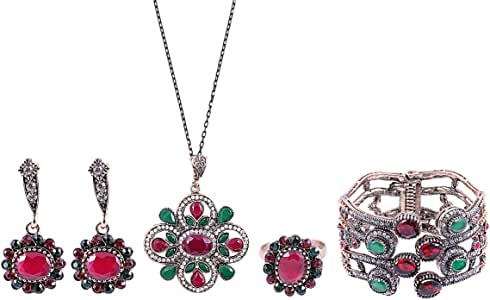 Love Pearl Red Jade Sunflower Jewelry Set - 5 Pieces