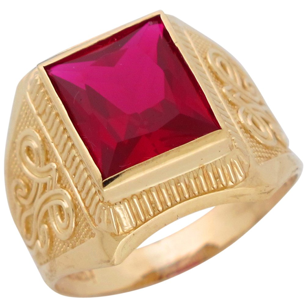Jewelry Liquidation 10k Yellow Gold Simulated Ruby July Birthstone Mens Wide Ring