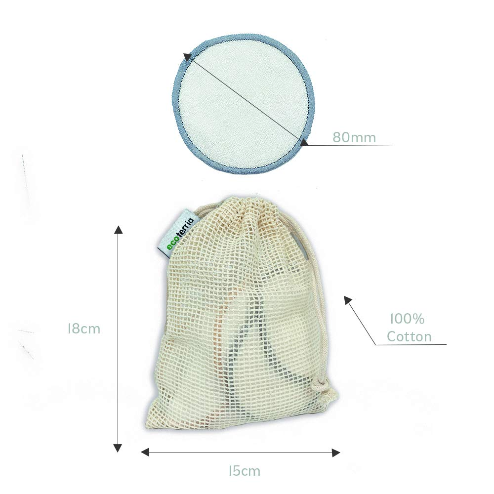 Reusable Make Up Remover Pads Washable and Eco-Friendly 16 Bamboo Cotton Pads with Laundry Bag