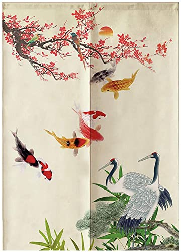 MYRU Japanese Noren Doorway Curtain Tapestry Fish and Crane,33.5 Inches x 59 Inches