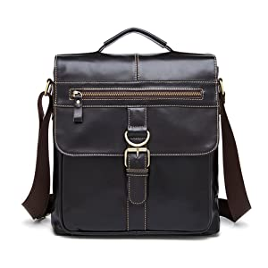 Genda 2Archer Mens Leather Briefcase Leather Messenger College Office Ipad Bag (Dark Coffee)