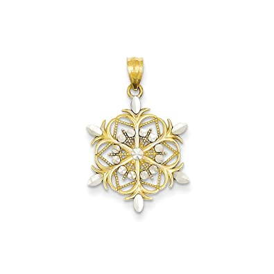 Amazon ice carats 14kt yellow gold snowflake pendant charm ice carats 14kt yellow gold snowflake pendant charm necklace holiday fine jewelry ideal gifts for women aloadofball Image collections