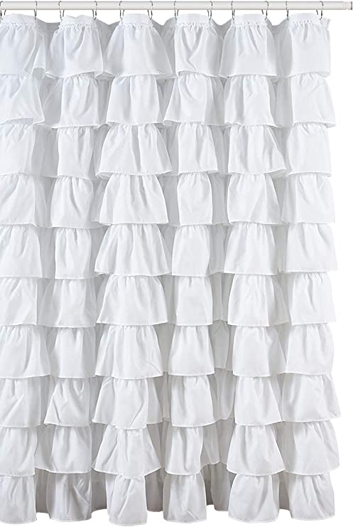 Ruffled White Fabric Shower Curtain Home Kitchen