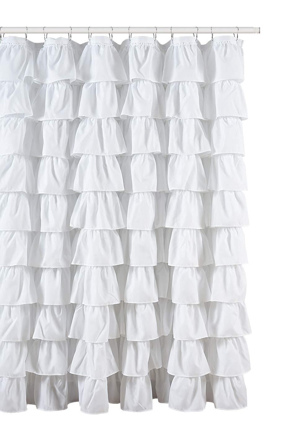 Amazon.com: Ruffled White Fabric Shower Curtain: Home & Kitchen