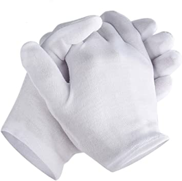 8/'/' 16 Pairs White Cotton Gloves Inspection Antique Coin Jewelry Gloves M Size