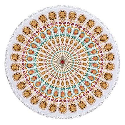 YOOMAT 150 cm Impreso Mandala Ronda Fringe Toalla de Playa Estera de Yoga Toalla de Playa